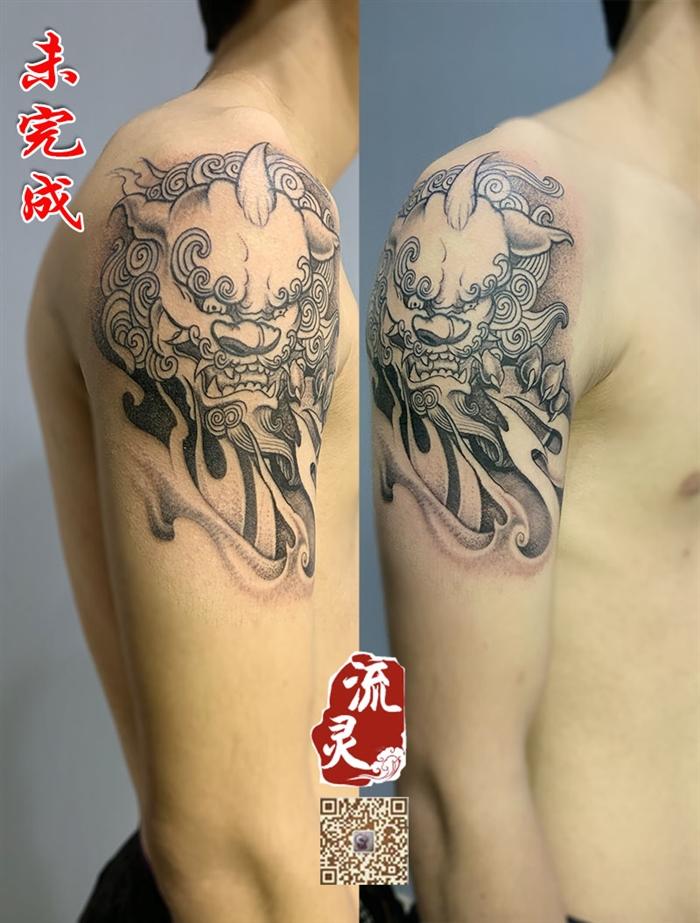 大臂传统唐狮纹身