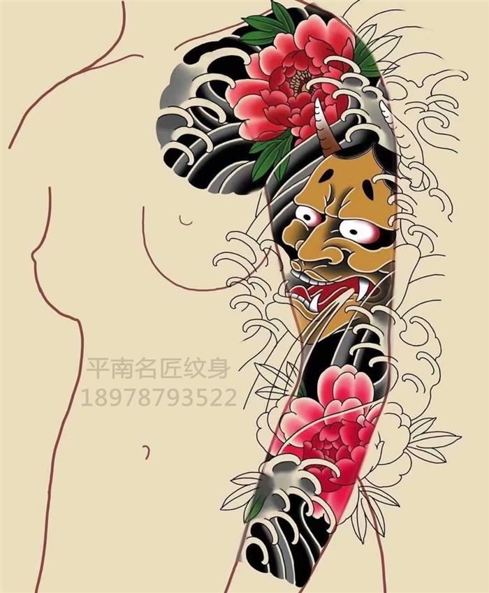日式老传统刺青手稿图片
