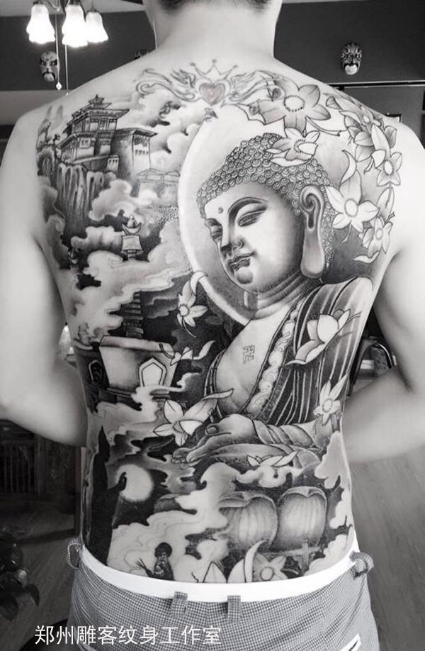 郑州纹身 满背佛